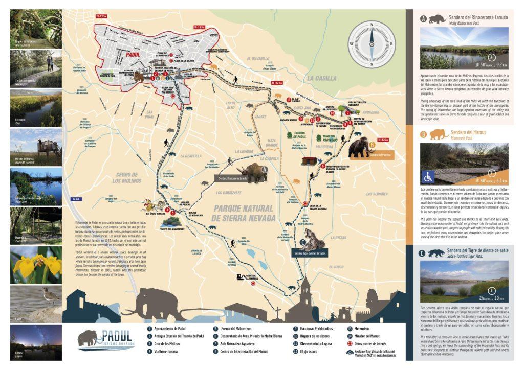 mapa de las rutas prehistóricas de padul