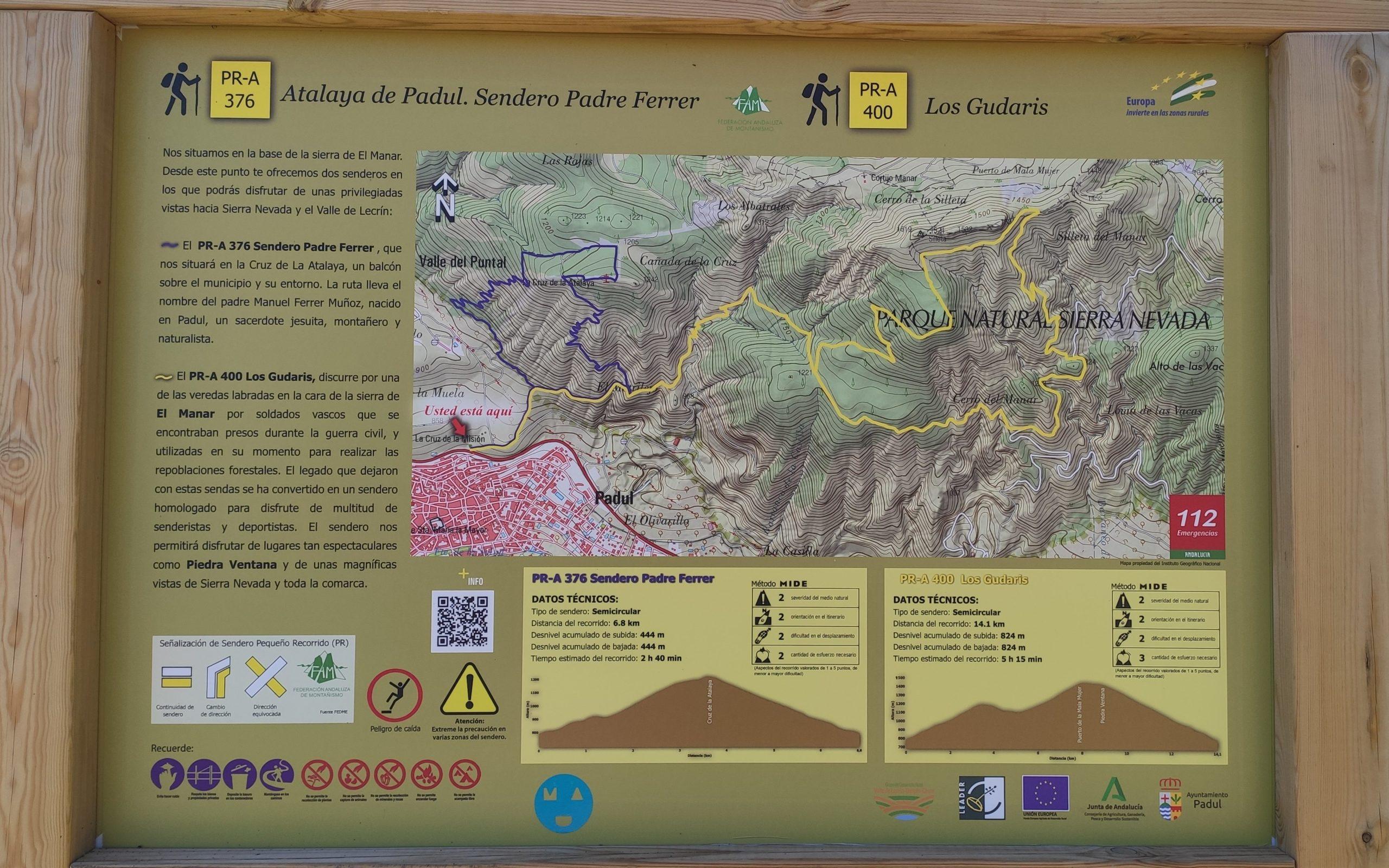 panel informativo ruta de los gudaris y del padre ferrer padul
